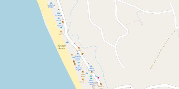Agonda Beach Map - Goa