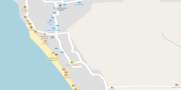 Anjuna Beach Map - Goa