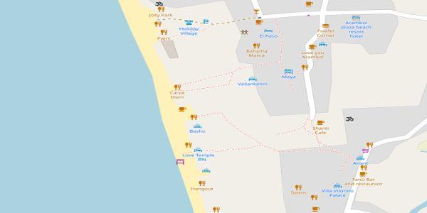 Arambol Beach Map - Goa
