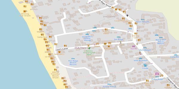 Baga goa beach with maps