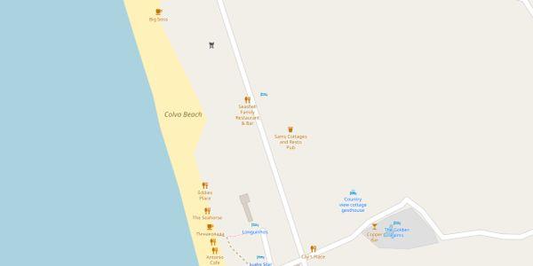 Colva Beach Map - Goa