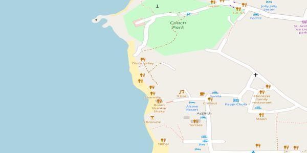 Vagator Beach Map - Goa